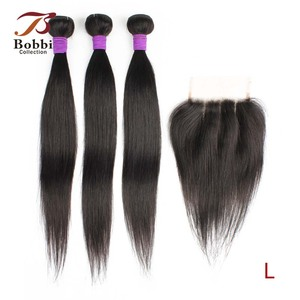 Bobbi Collection 3 Bundles with Lace Closure 200g/set Straight Hair Weave Cheap Brown Ombre Blonde Brazilian Non-Remy Human Hair(China)