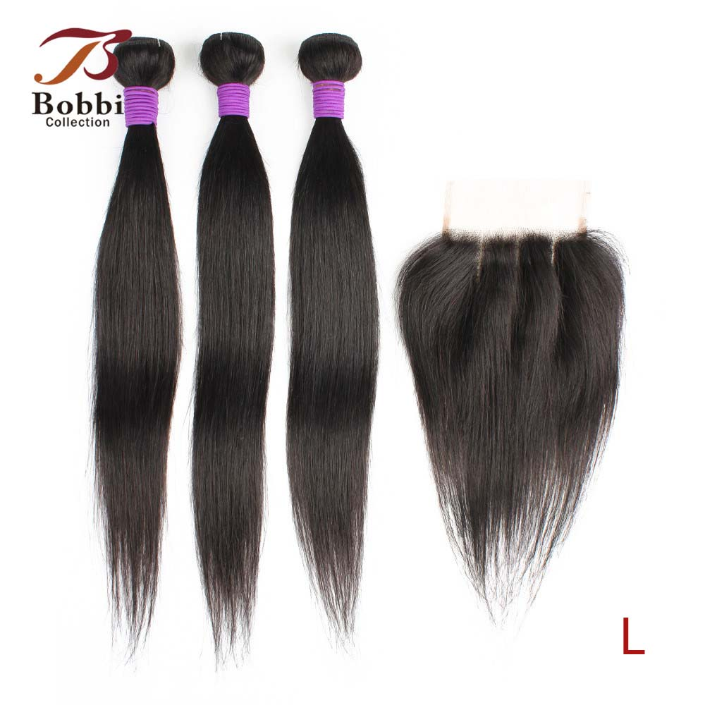 Bobbi Collection 3 Bundles With Three Part Lace Closure 200g/set Straight Hair Weave 12-22 Inch Brazilian Non-Remy Human Hair