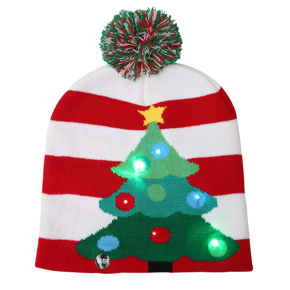 Glowing Christmas Knit Cap Hat Christmas Scarf LED Light Color Ball Knit Cap