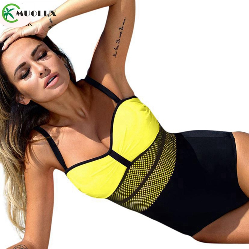 <font><b>2019</b></font> New Summer <font><b>Sexy</b></font> Monokini Vintage One Piece <font><b>Swimsuit</b></font> <font><b>Push</b></font> <font><b>Up</b></font> Padded <font><b>Bikini</b></font> <font><b>Swimwear</b></font> <font><b>Women</b></font> Mesh Bathing Suit Plus Size Female image