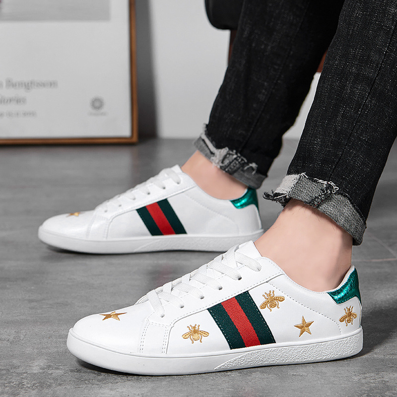 2019 New Style Autumn Students Shoes Korean-style Versatile MEN'S SHOES Casual Shoes Trendy Shoes Small Bee COUPLE'S White Shoes