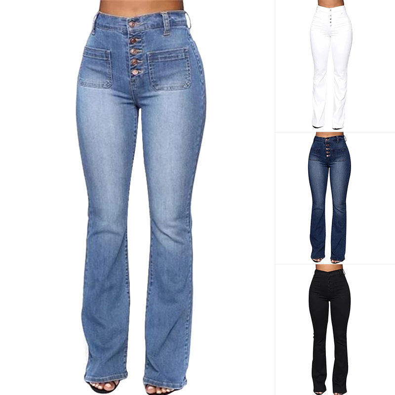 Washed High Waist Button Boot-cut Jeans Women Casual Long Pants Trousers FEA889