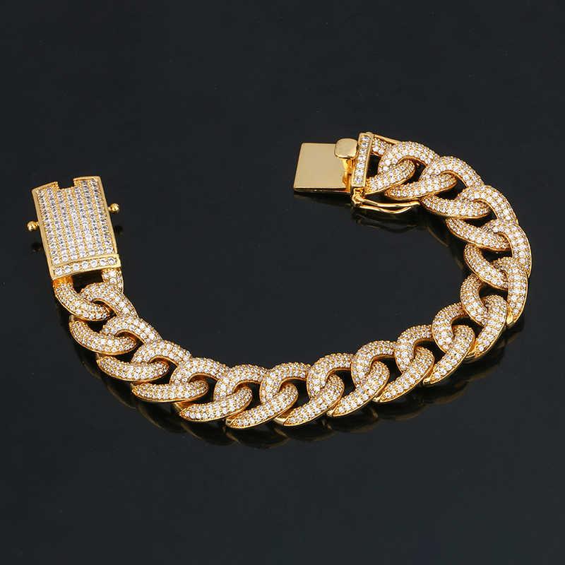 14mm de Espessura Pulseira Com AAA Micro Cristal Pave Ouro Miami Curb Cubano Chain link Pulseiras Para Homens Hip Hop pulseira de Transporte Da Gota