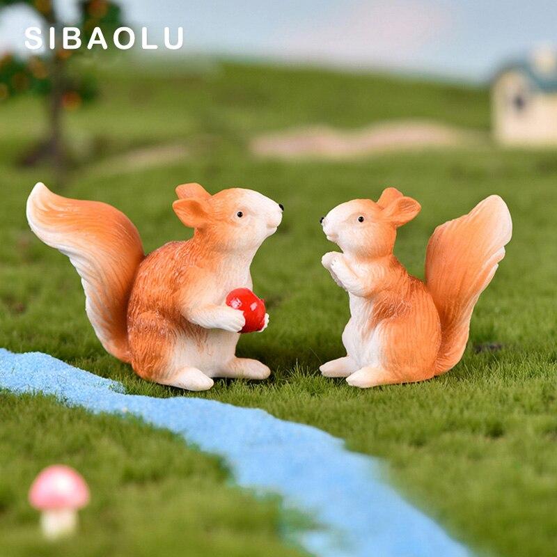 Simulation Little Squirrel figurine animal Model home decor miniature fairy garden decoration DIY accessories modern statue