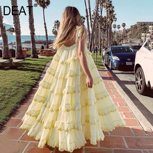 Dress Cascading Ruffle DEAT Beach-Style Fashion Summer Elegasnt Long-Length Women AM545