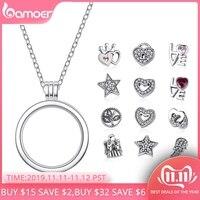 BAMOER Genuine 925 Sterling Silver Medium Petite Memories Floating Locket Necklaces & Pendants Sterling Silver Jewelry PSF001