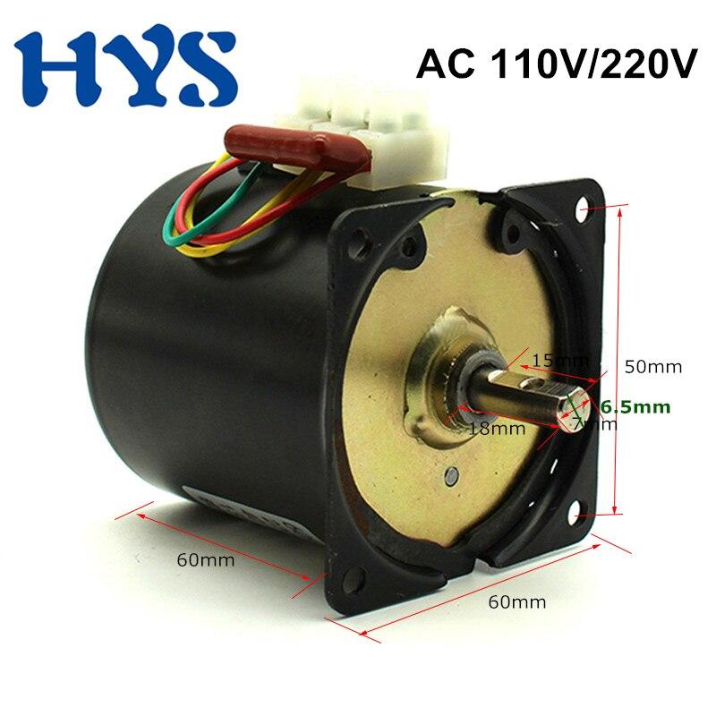 HYS AC 110V 220V Gear Motor 25W 14W High Torque  2.5-110rpm Synchronous 50hz-60hz Electric Reversible CW/CCW 60ktyz
