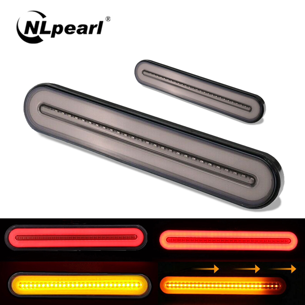 Nlpearl 1 Pair 12V 24V Waterproof LED Trailer Truck Tail Light Sequential LED Turn Signal Lamp Rear Brake Stop Warning Lights