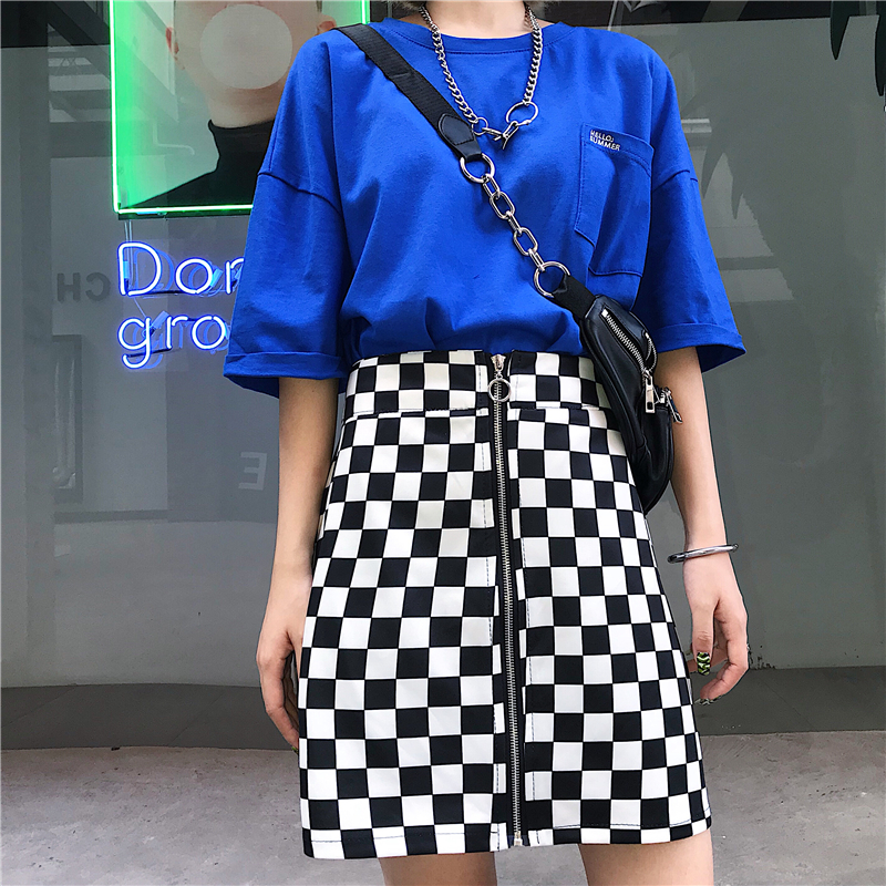 Sexy Bodycon Korean Street Schachbrett Plaid Hohe Taille Mini Rock Ring Schnalle Zipper Harajuku 90s 2020 Faldas Plus Größe