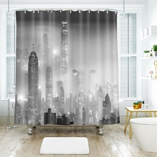 3d Urban Landscape Pattern The City of Mist Shower Curtains Waterproof Thickened Bath for Bathroom Customizable