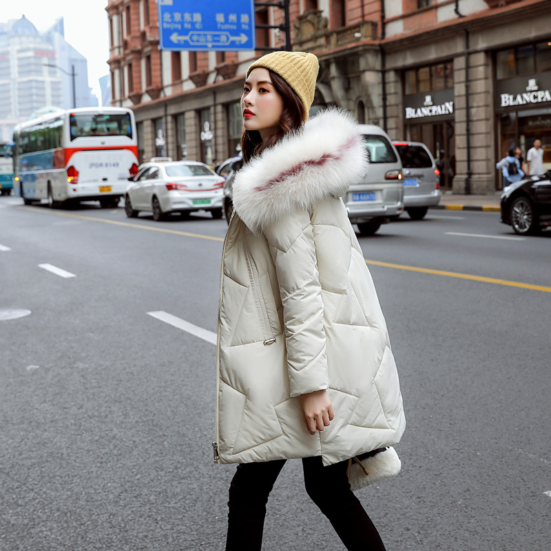 Winter Jacket Women Casual Solid Big Fur Collar Plus Size New Style Outerwear Snow Wear Coats Pakas