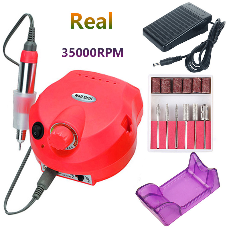 35000 RPM Electric Nail Drill Machine Manicure Nail Drill Bits Set Pedicure Sanding Equipment Miling Cutter File Left Hand Tools