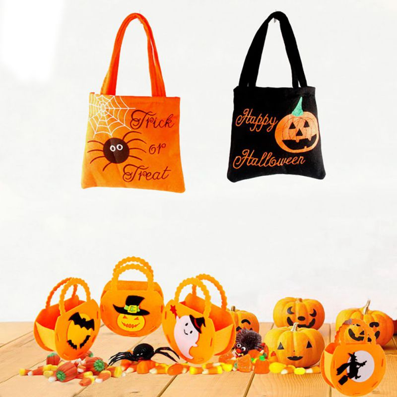 PDurable Halloween Spider Pumpkin Witch Pattern Candy Handbag Kids Bag Christmas Decorations CM