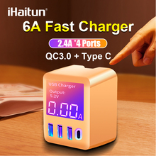 iHaitun 30W Wall 4 Port PD Type C USB Charger QC 3.0 LED Display Travel Dock Station Quick Charge For Samsung S10 iPhone 11