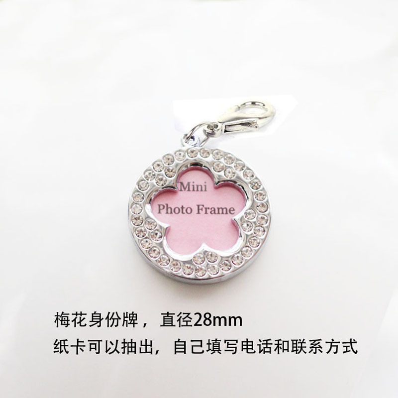 Medium Pet Round Diamonds Dog Tag Anti-loss Information Board DIY Handwritten Heart Pendant Customizable