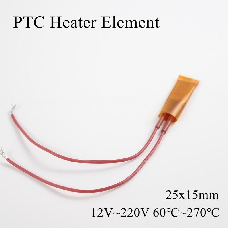 25x15mm 12V 24V 110V 220V PTC Heater Element Constant Thermostat Insulated Thermistor Ceramic Air Heating Chip Tube Film 25*15mm