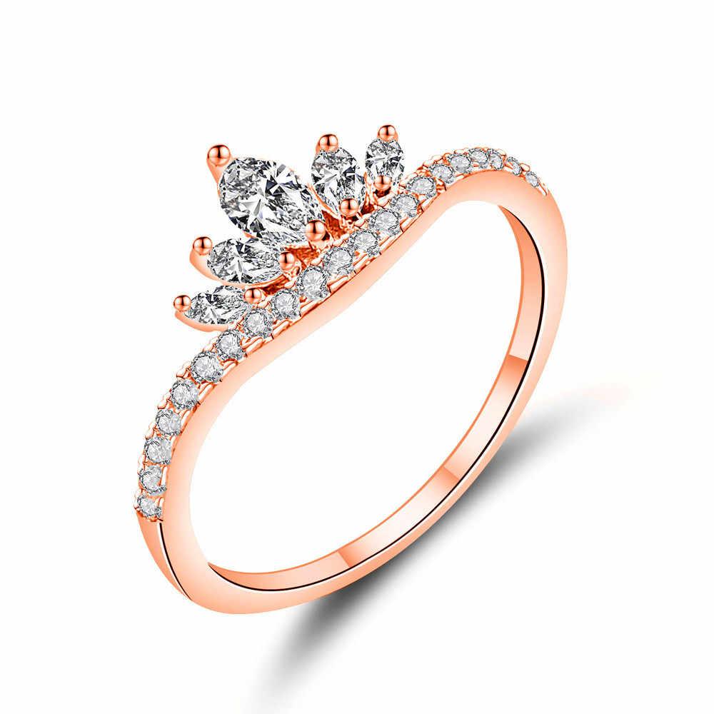 น่ารักโรแมนติกหญิงขนาดเล็ก Crown แหวน Rose Gold สีขาว Zircon แหวนแฟชั่นแหวนหมั้นสำหรับสุภาพสตรี