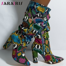 SARAIRIS New 35-47 Western Women Snake Boots Fake Leather Colorful Mid-calf Boots Lady Zipper Boots High Heels Shoes Woman цена 2017