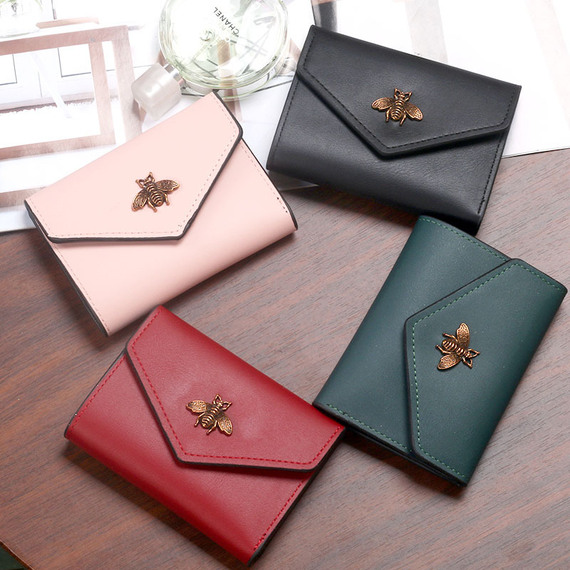 Bee Wallet Women Short Tri-Fold Small Purse Card Case Simple Ladies Female Fashion New Style PU Leather