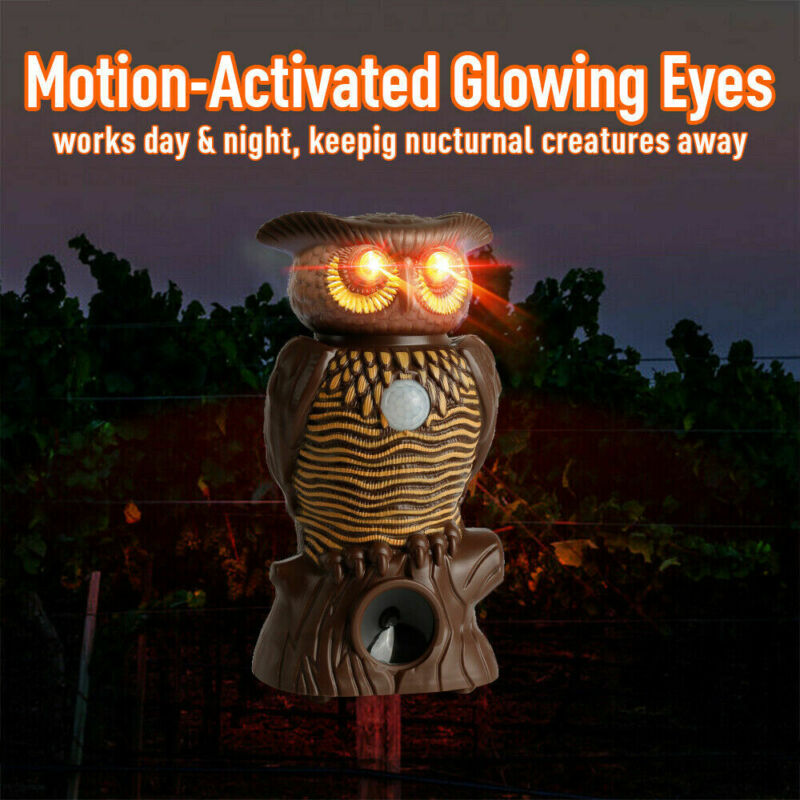 Owl0 Alert Motion Activated Security Statue With Light-Up Eyes 2019