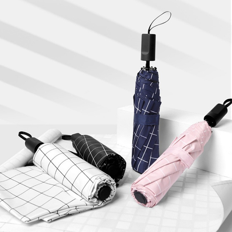 Creative Sun-resistant Umbrella Three Fold Vinyl Parasol Plaid College Style Folding Umbrella Customizable Logo Advertising Umbr