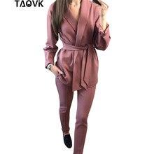 TAOVK Office Lady Pant garnitury damskie kostiumy Blazer top i ołówkowe spodnie dwuczęściowe stroje femme ensemble Pantsuit Spring