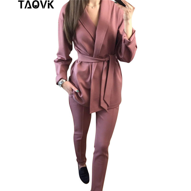 TAOVK משרד ליידי צפצף חליפות נשים של תלבושות חגורת בלייזר עליון מכנסי עיפרון שתי חתיכה תלבושות femme אנסמבל חליפת מכנסיים אביב