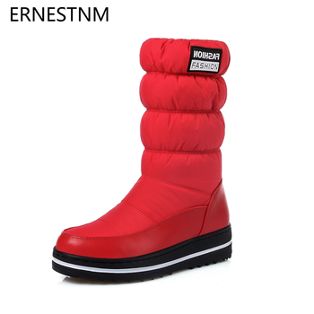 ERNESTNM Winter Snow Boots Women Warm Plush Mid-calf Shoes Waterproof Boot Fur Platform Boots Red Elastic Sleeve Plus Size 35-44