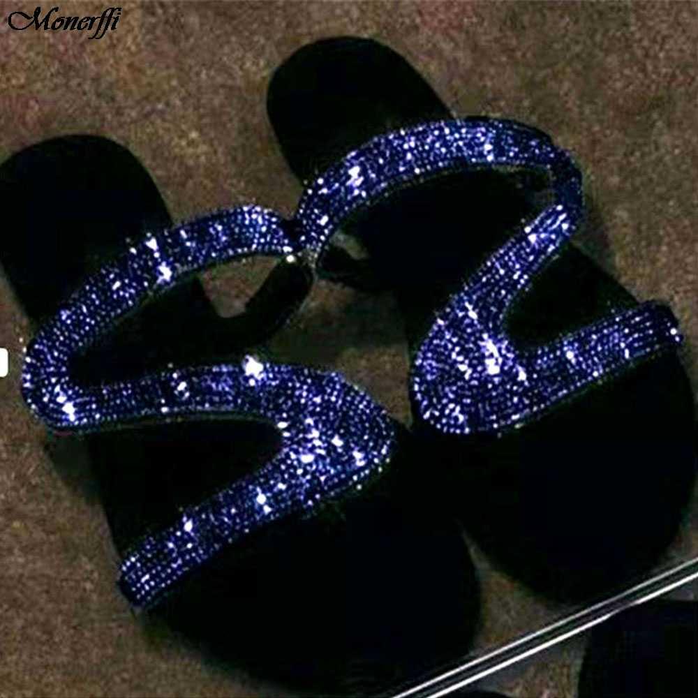 Kobiety lato płaskie Bling kapcie przezroczysty miękki galaretki buty kobiece klapki sandały odkryty plaża panie slajdy Plus rozmiar