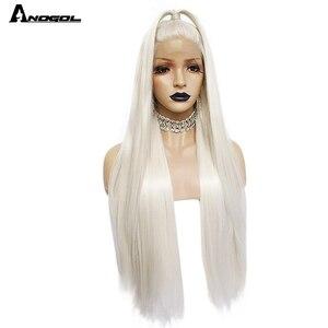 Image 2 - Anogol פלטינה בלונדינית טבעי שיער פאות 613 ארוך משיי ישר סינטטי תחרה מול פאה עבור לבן נשים