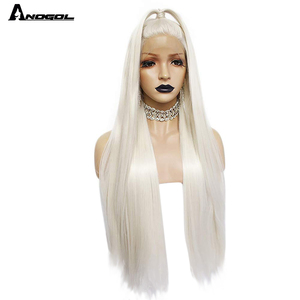 Image 2 - Anogol Platinumสีบลอนด์ธรรมชาติWigs 613ยาวSilkyตรงวิกผมลูกไม้ด้านหน้าด้านหน้าสำหรับผู้หญิงสีขาว