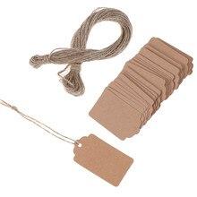 100 pces em branco kraft jóias preço etiqueta da corda preço tag cartões de presente com corda 20m