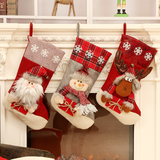 Christmas Decoration Christmas Socks Ornaments Pendant Small Boots Children New Year Candy Bag Gift Fireplace Tree Jewelry 1
