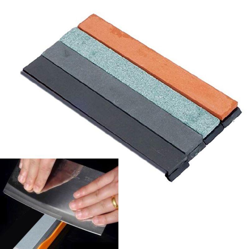 4pcs Edge Sharpener Oil Stone Fixed Angle Knife Oilstone Whetston With Base