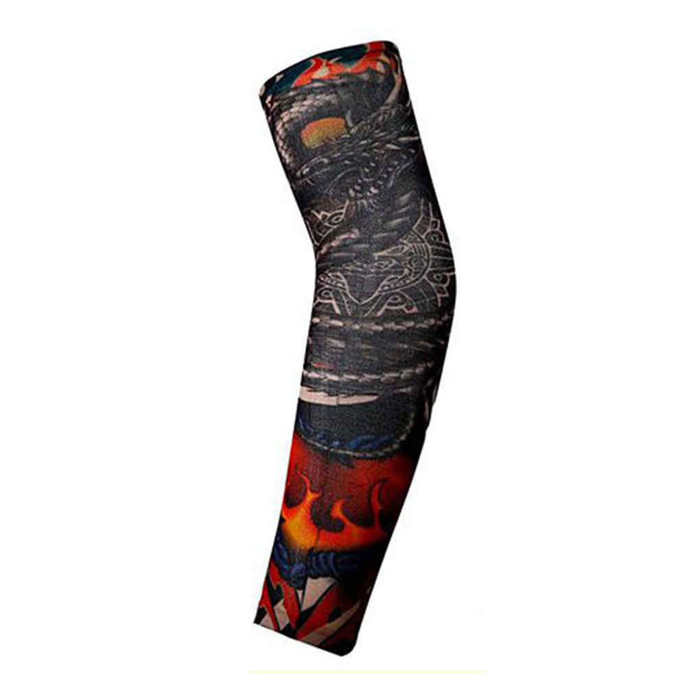 Sun Protection Men Tattoo Arm Leg Sleeves Cycling Halloween Party Decoration Outdoor Sports Arm Protective Sleeves