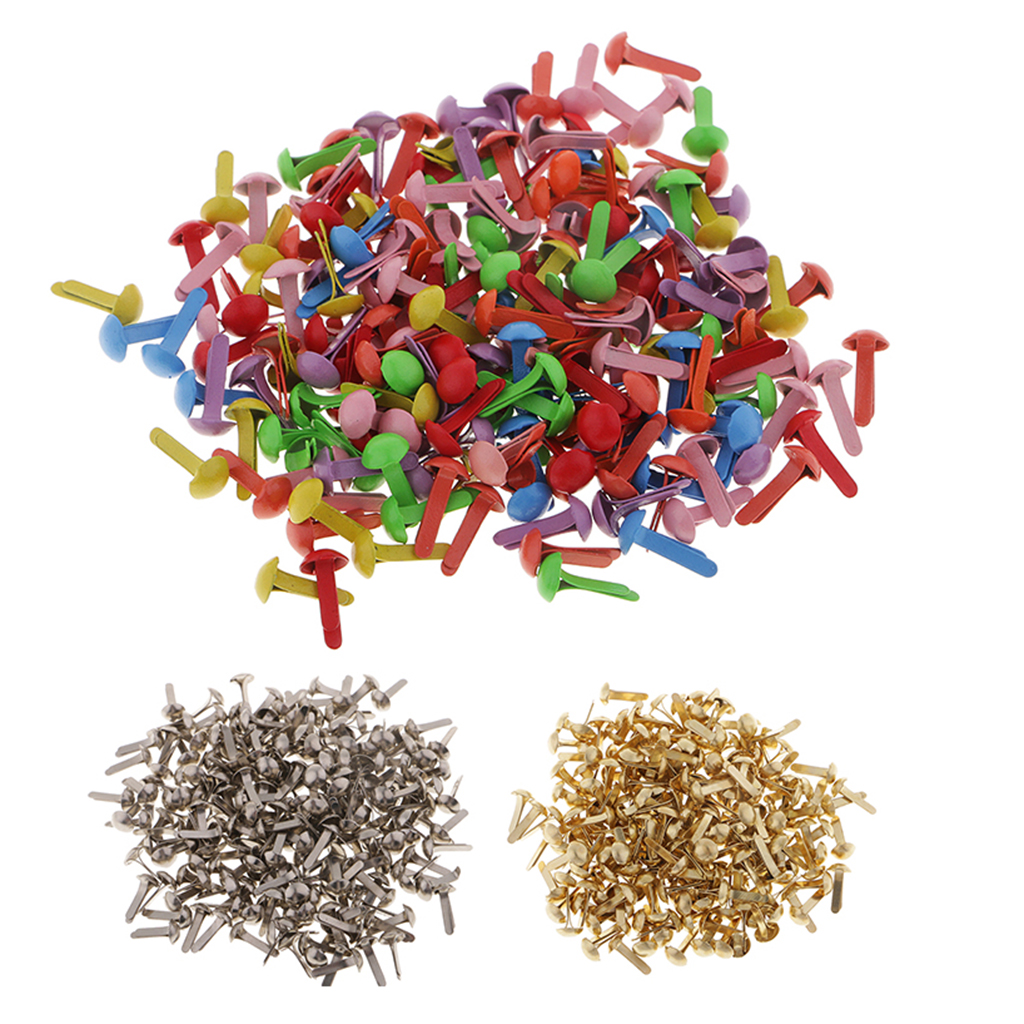 100 Pieces Round Head Metal Brad Paper Fastener Embellishments for Kids