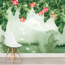 Watercolor Banana Leaves Texture Wall Covering Mural Art Wallpaper For Living Room TV Sofa Bedroom Home Decor 3D Wall Sticker(China)