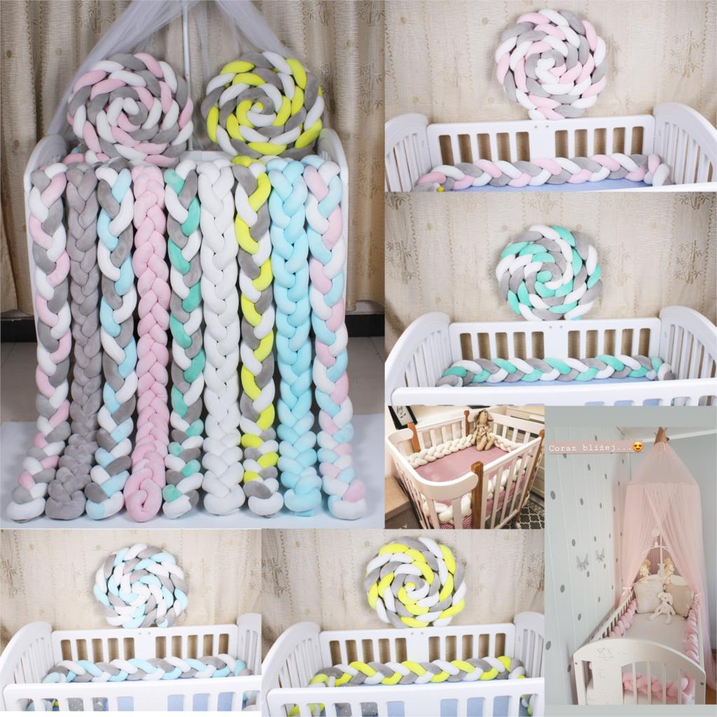 1m 1.5m 2m Baby Braided Crib Bumpers Long Plush Knot Pillow Cushion,Nursery Bedding Cot Safety Fence Stroller Childrens Room Decoration DIY Hand-Made Twist Bed Circumference