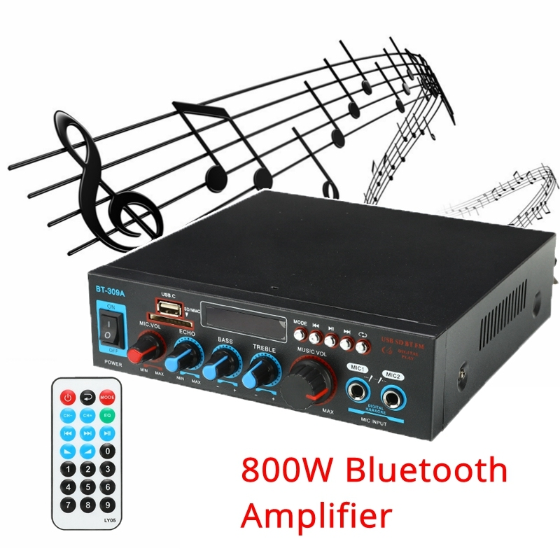 New <font><b>800W</b></font> Bluetooth <font><b>HIFI</b></font> Audio Power <font><b>Amplifier</b></font> 12/220V Home Theater <font><b>Amplifiers</b></font> Audio with Remote Control Support USB SD Card FM image