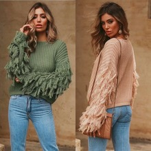 Round neck loose sweater long sleeve pullover tassel decoration women's sweater2019 autumn and winter sweater women цена 2017