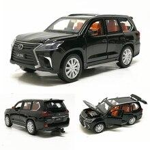 1:32 lexus lx570 liga puxar para trás modelo de carro diecast veículos brinquedo de metal com som luz 6 portas abertas para crianças presente frete grátis