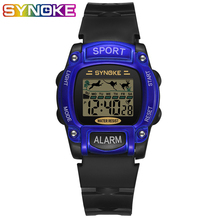 SYNOKE Blue Black Kids Digital Watch Animal Pattern Led Light Key Boys Watches Sport Chronograph Alarm Children Stop Watch цена в Москве и Питере