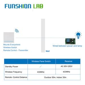 Image 2 - FUNSHION 433MHz uniwersalny bezprzewodowy pilot Control86 Panel ścienny nadajnik RF odbiornik 1 2 3 przycisk dla domu światło do pokoju przełącznik