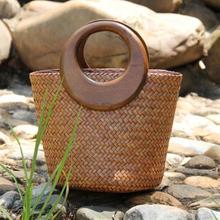 Vintgae Rattan Straw Woven Bamboo Bag Wooden Round Top Handle Women Handbags Summer Beach Straw Bucket Tote Bags For Women 2021