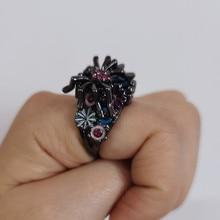 FFLACELL 2020 Neue Hohe Qualität Vintage Punk Blau Sapphire Spinne Blume Ring Tropfen Glasierte Hip Hop Ring für Frauen Mädchen geschenk Partei