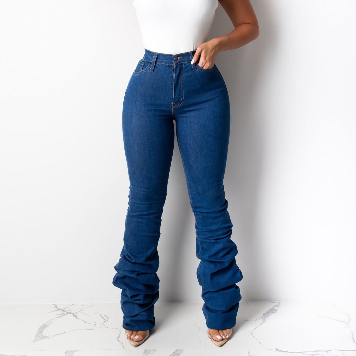 Newest Women Blue Heap Heap Jeans Pleated Autumn Winter Fashion Styles High Waist Pockets Skinny Denim Pants