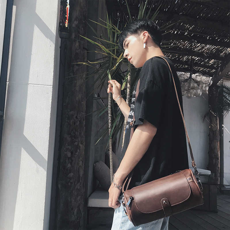 العلامة التجارية Bucket البيع دلو الرجال حقائب Vintage حقيبة كتف صغيرة بولي Leather جلد رجالي حقيبة ساعي اسطوانة الرجال حقائب كروسبودي الذكور
