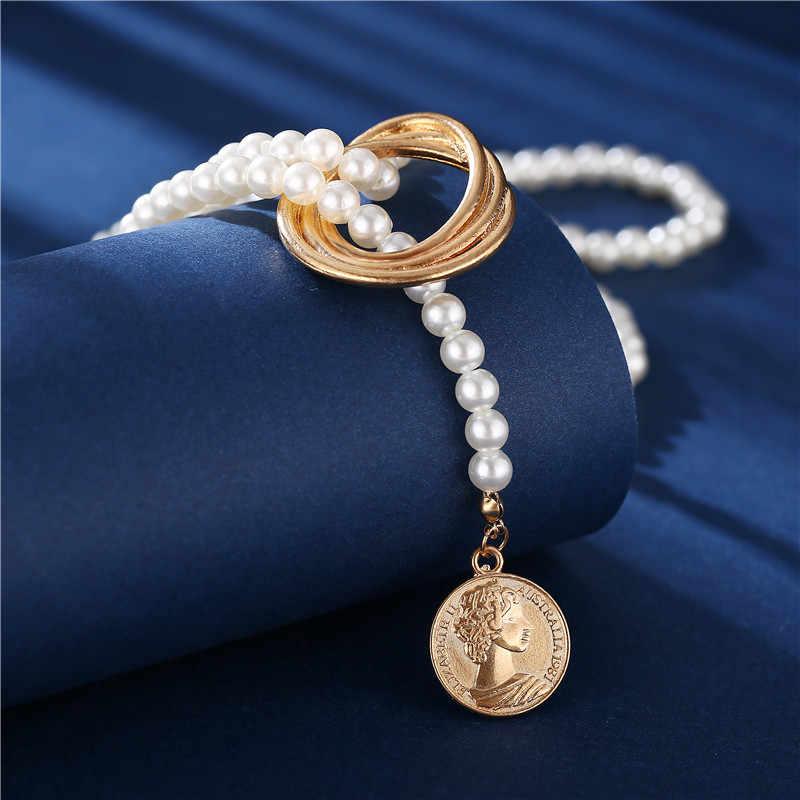 17 キロヴィンテージ真珠のネックレスファッション多層シェル結び目真珠チェーンネックレス 2020 新コインクロスチョーカージュエリー