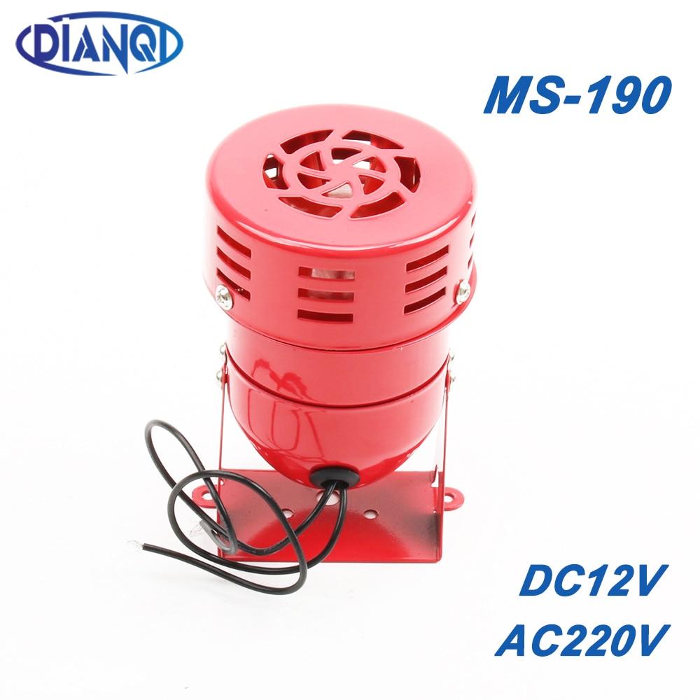 AC 220V DC 12V MS-190 Automotive Air Raid Siren Horn Car Truck Motor Driven Alarm Red Universal Car Horn For Pickup Truck