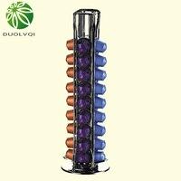 Ev ve Bahçe'ten Kahve Takımları'de Pratik kahve kapsülleri saklama Pod tutucu uyar 40 Nespresso kapsülleri dağıtım kulesi standı soporte capsulas nespresso